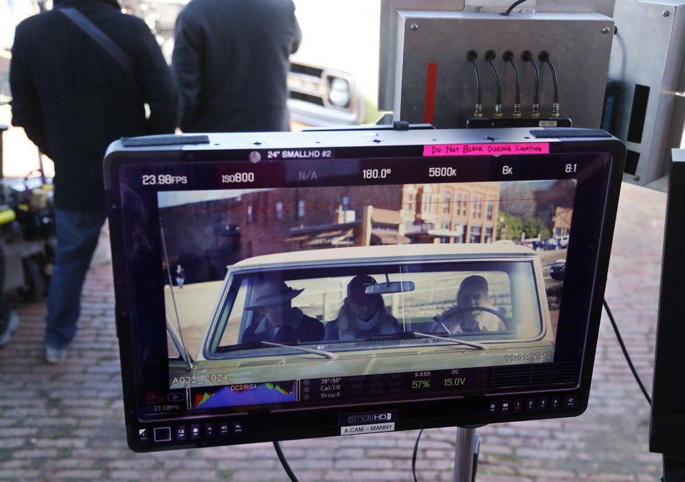 Photo -  A monitor shows the camera view during a scene for