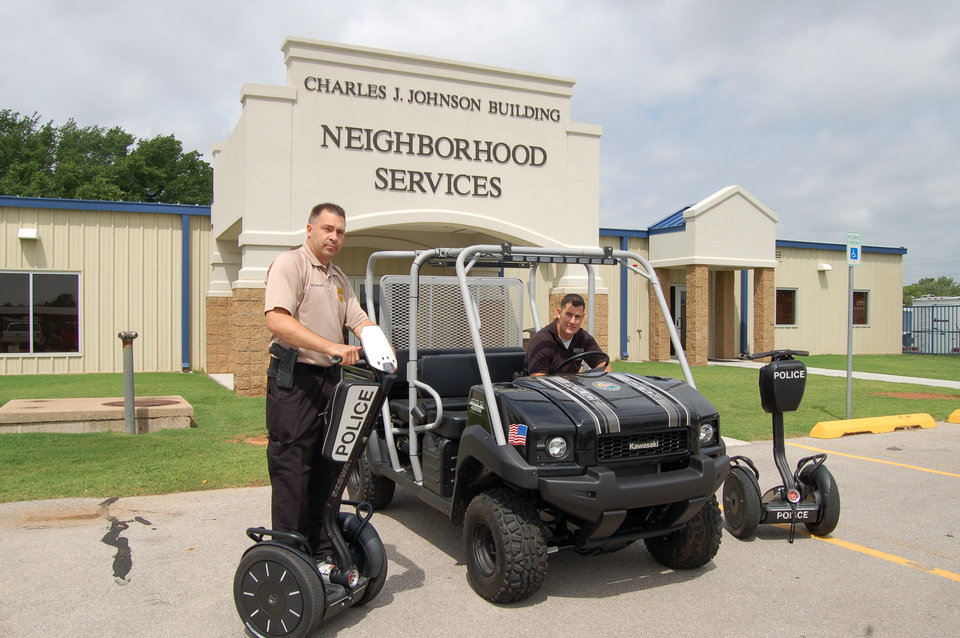 MWC Police Sgt. Ronzil Starcher - left on new Segway and Sgt. Sean Anderman in new UTV - right