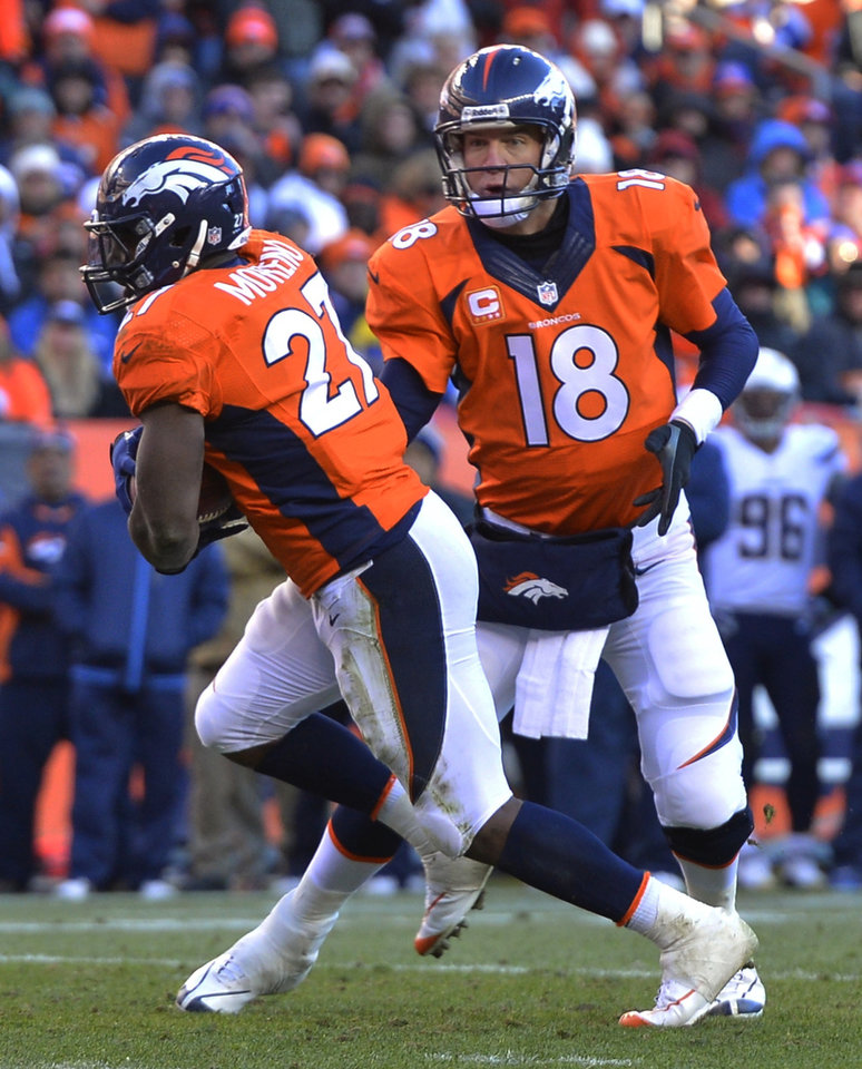 Photo - Denver Broncos quarterback Peyton Manning hand the ball off to running back Knowshon Moreno (27) in the second quarter of an NFL AFC division playoff football game, Sunday, Jan. 12, 2014, in Denver. (AP Photo/Jack Dempsey)