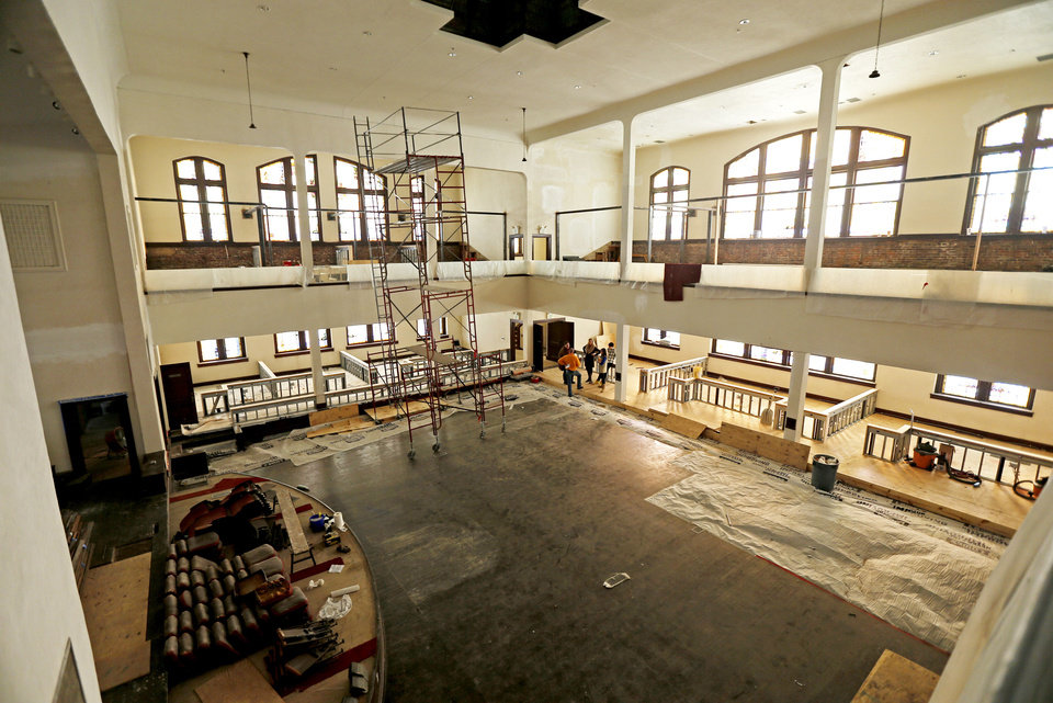 Construction inside Calvary Baptist Church is shown Wednesday in the Deep Deuce district of downtown Oklahoma City. Photo by Bryan Terry, The Oklahoman