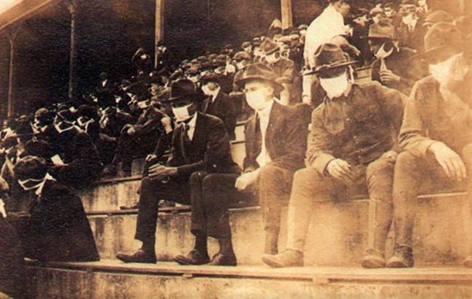 Photo -  This undated photo provided by Georgia Tech alumnus Andy McNeil shows a Georgia Tech home game during the 1918 college football season. [Thomas Carter via AP]