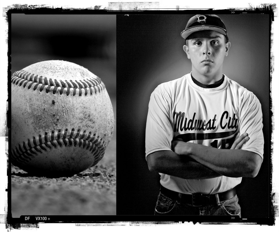 SECOND PLACE, PHOTO PACKAGE: Midwest City High School\'s Daniel Meeley baseball player of the year Spring sports honor roll shot in the OPUBCO studio on Thursday, May 22, 2008, in Oklahoma City, Okla. staff photo Illustration by CHRIS LANDSBERGER