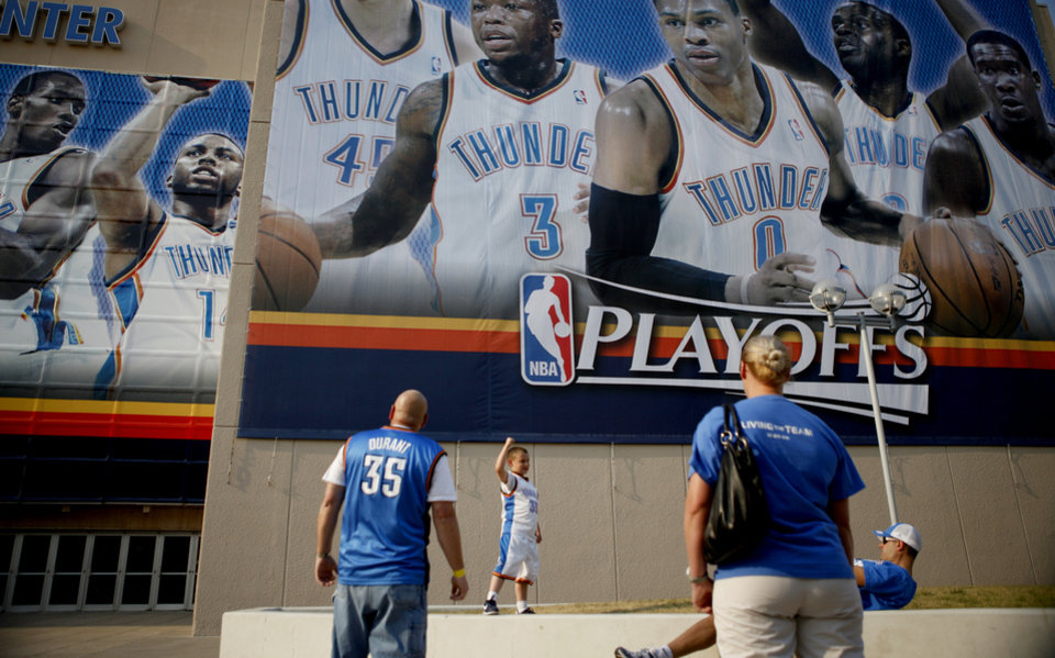 Photo - Bo Russell, 7, of Oklahoma City poses for a photo before the NBA basketball game between the Denver Nuggets and the Oklahoma City Thunder in the first round of the NBA playoffs at the Oklahoma City Arena, Sunday, April 17, 2011. Photo by Bryan Terry, The Oklahoman