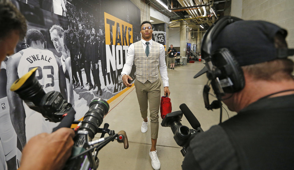 Photo - Oklahoma City Thunder guard Russell Westbrook arrives for Game 6 of the team's NBA basketball first-round playoff series against the Utah Jazz on Friday, April 27, 2018, in Salt Lake City. (AP Photo/Rick Bowmer)