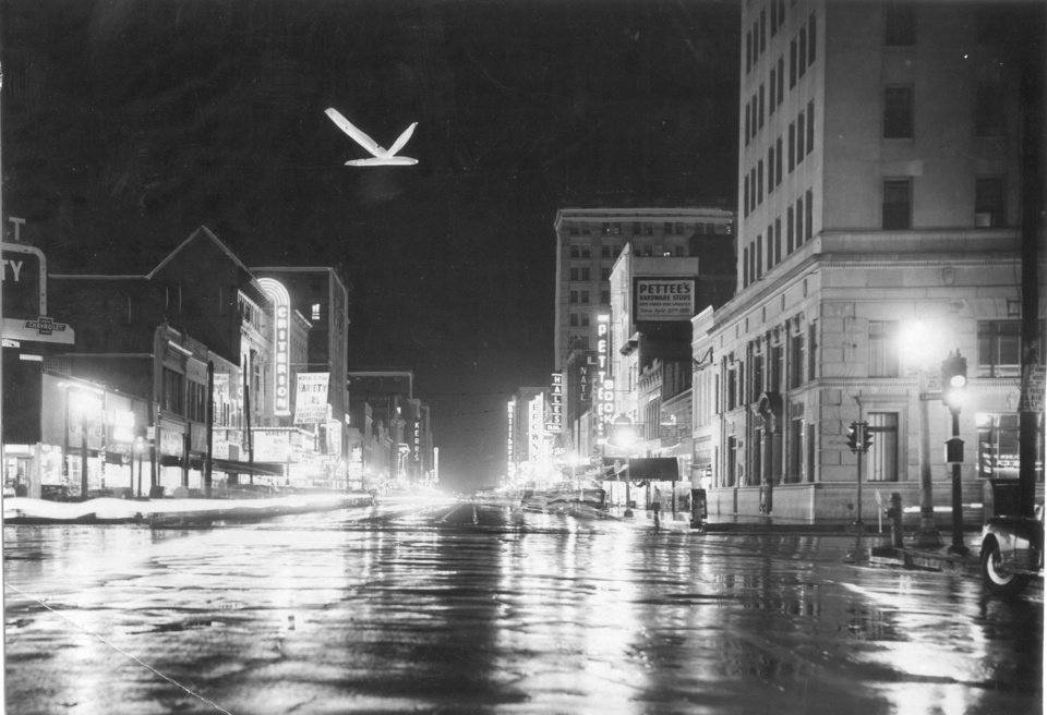 Photo - EARLY DAYS DOWNTOWN: Main Street in Oklahoma City. Staff photo by Al McLaughlin. 09-10-1947