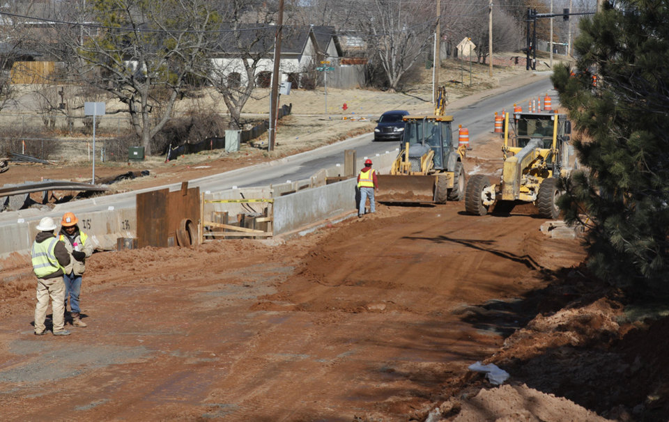 One lane of traffic is open on Bryant Avenue just north of 15th Avenue in Edmond.