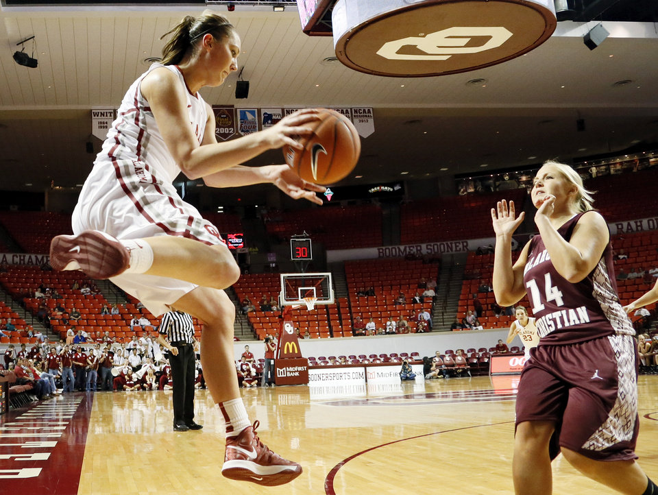 OU's Nicole Kornet (1) throws the ball inbounds at Oklahoma Christian's Lindsey Larkin (14) during a women's college basketball exhibition game between the University of Oklahoma and Oklahoma Christian University at the Lloyd Noble Center in Norman, Okla., Thursday, Nov. 1, 2012. Photo by Nate Billings, The Oklahoman