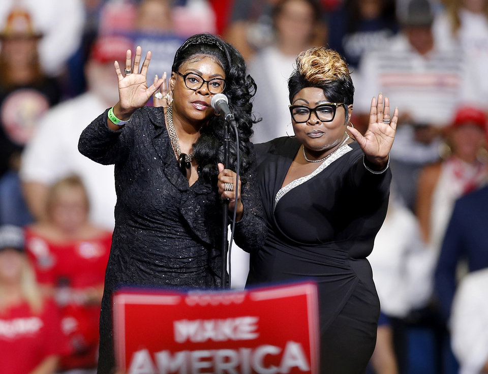 Photo - Diamond and Silk talks about the press before President Donald Trump speaks during a rally at the BOK Center in Tulsa, Okla., Saturday, June 20, 2020. [Sarah Phipps/The Oklahoman]