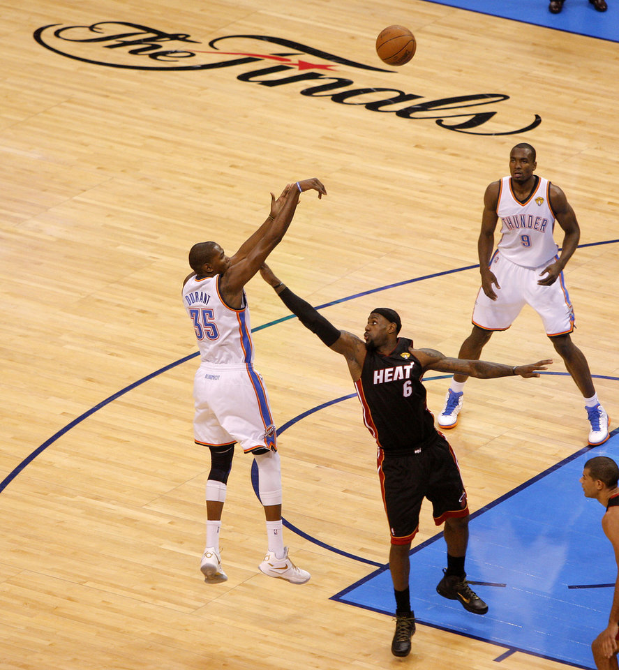 Oklahoma City's Kevin Durant (35) shoots the ball over Miami's LeBron James (6) during Game 2 of the NBA Finals between the Oklahoma City Thunder and the Miami Heat at Chesapeake Energy Arena in Oklahoma City, Thursday, June 14, 2012. Photo by Bryan Terry, The Oklahoman