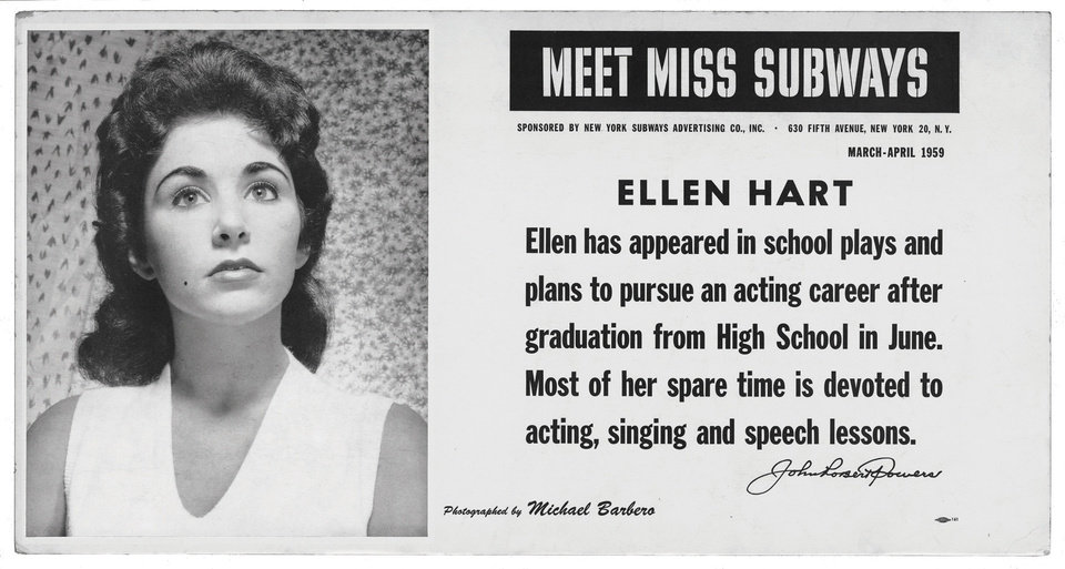 "This image provided by the MTA courtesy of the New York Transit Museum shows Ellen Hart, who appeared on placards in the New York City subways during March and April of 1959 in the �Meet Miss Subways� campaign that ran for 35 years as eye candy to bring attention to other advertisements in New York�s transit system. ""Meet Miss Subways: New York's Beauty Queens 1941-76,"" is now an exhibition at the New York Transit Museum running Oct. 23-March 25, and a companion book of the same name with current-day photos of the women. (AP Photo/ MTA courtesy of the New York Transit Museum)"
