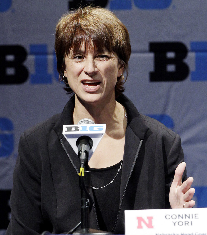 Photo -   Nebraska women's head coach Connie Yori speaks at Big Ten NCAA college basketball media day in Rosemont, Ill., Thursday, Oct. 25, 2012. (AP Photo/Nam Y. Huh)