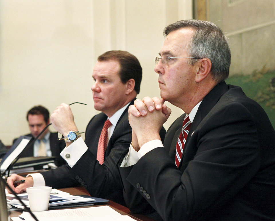 Photo - The Oklahoma Commission on School Security convened for the first time Tuesday afternoon, Jan. 22, 2013, at the state Capitol.  Lt. Gov. Todd Lamb, left, and Senate Pro-tempore Brian Bingman, right,  chaired the committee. Photo by Jim Beckel, The Oklahoman