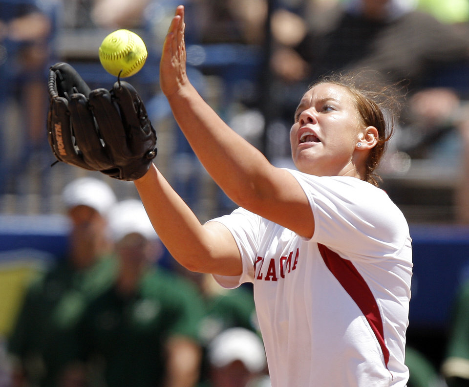 Oklahoma's Keilani Ricketts fields the ball in the seventh inning of a Women's College World Series game against South Florida at ASA Hall of Fame Stadium in Oklahoma City, Thursday, May 31, 2012.  Photo by Bryan Terry, The Oklahoman