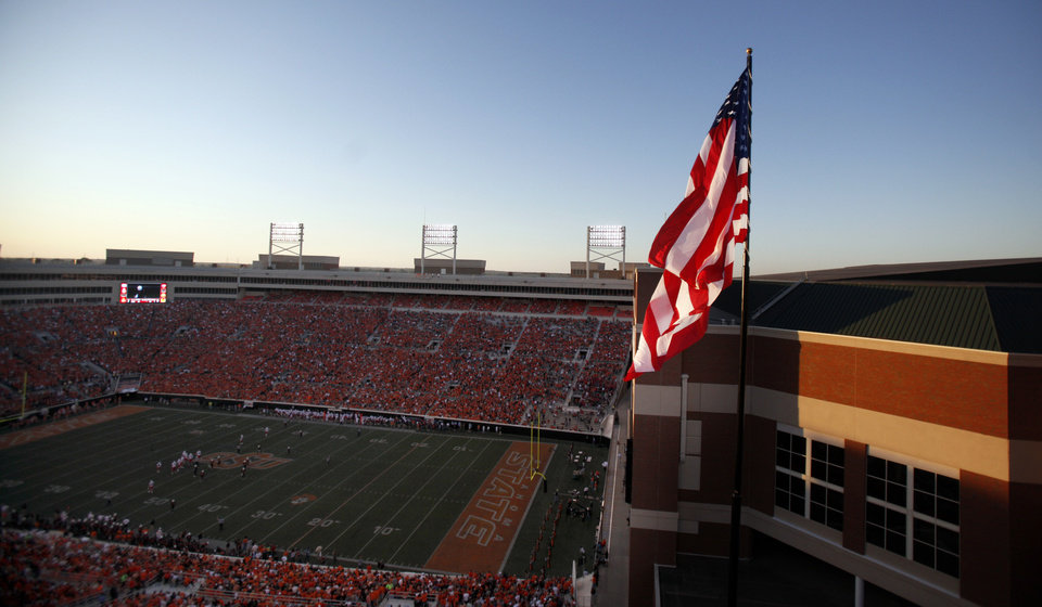 Photo - Boone Pickens Stadium is pictured during a college football game between the Oklahoma State University Cowboys (OSU) and the University of Arizona Wildcats at Boone Pickens Stadium in Stillwater, Okla., Thursday, Sept. 8, 2011. PHOTO BY SARAH PHIPPS, The Oklahoman