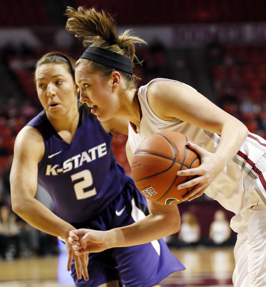 Photo - Oklahoma's Nicole Kornet (1) drives the ball past Kansas State's Brittany Chambers (2) during an NCAA women's college basketball game between the University of Oklahoma (OU) and Kansas State at Lloyd Noble Center in Norman, Okla., Wednesday, Feb. 20, 2013. Photo by Nate Billings, The Oklahoman