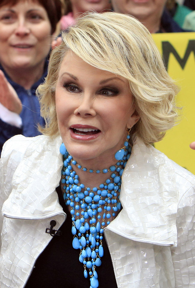 "Joan Rivers, winner of  Donald Trump's ""Celebrity Apprentice"" show, appears on the NBC ""Today"" television program in New York's Rockefeller Center Monday, May 11, 2009.  (AP Photo/Richard Drew) ORG XMIT: NYRD114"