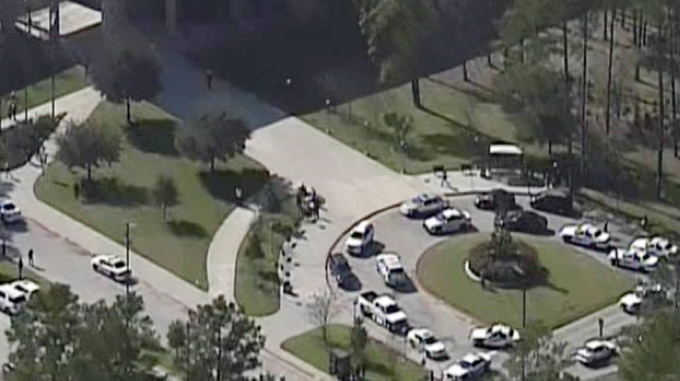 This frame grab provided by KPRC Houston shows the scene at Lone Star College Tuesday, Jan. 22, 2013, in Houston, where law enforcement officials say the community college is on lockdown amid reports of a shooter on campus. (AP Photo/Courtesy KPRC TV) MANDATORY CREDIT ORG XMIT: CER105