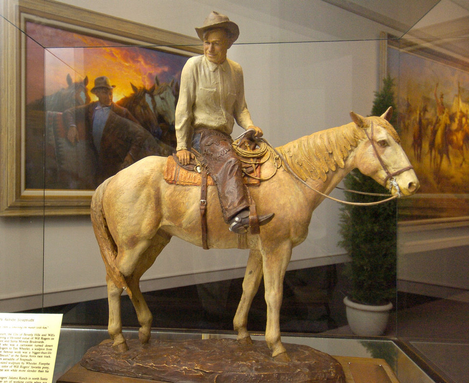 A model of Will Rogers on his horse is on display at the Will Rogers Memorial Museums in Claremore.  Photo by Paul Hellstern, The Oklahoman