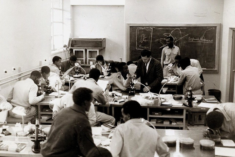 Photo - An OSU professor instructs students at Alemaya University in Ethiopia in 1956. Photos provided