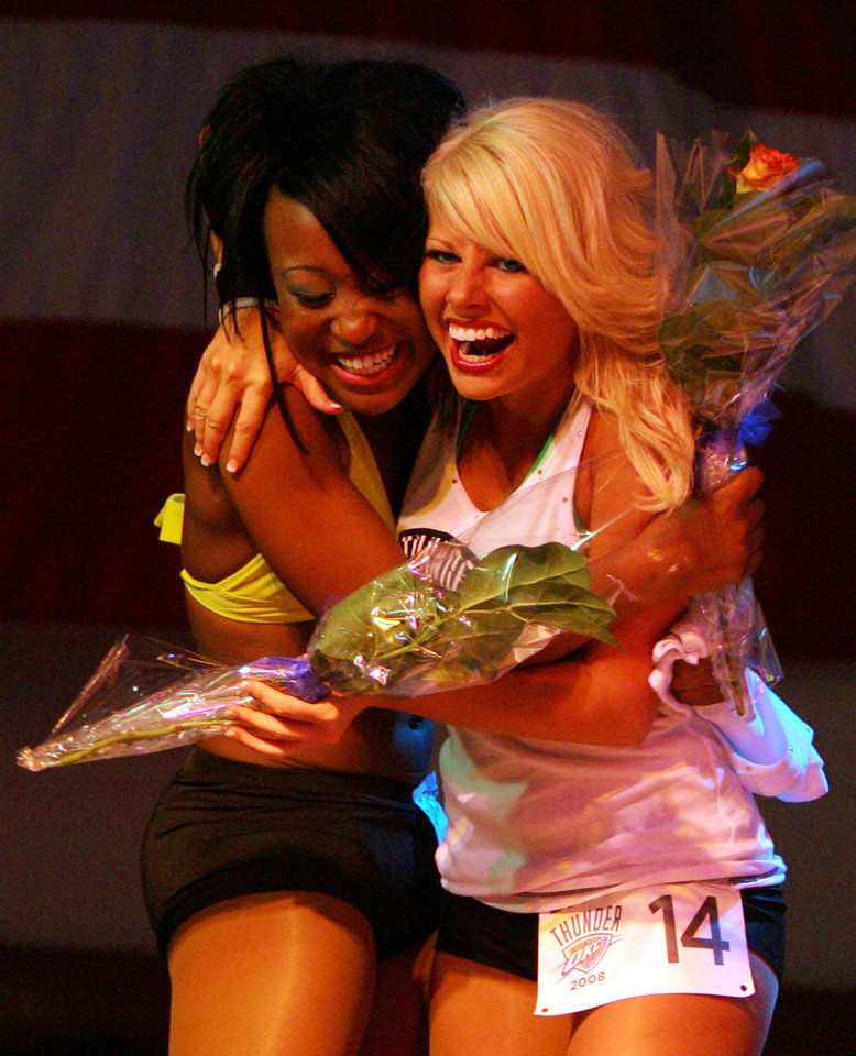 Latisha and Erica celebrate after being announced as having made the OKC Thunder dance team, at Toby Keith's I Love this Bar and Grill, in Oklahoma City, Thursday, Sept. 11, 2008 BY MATT STRASEN, THE OKLAHOMAN.