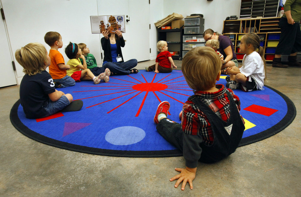 Karen McWilliams, Curator of School and Family Programs, reads to children 3 to 5 years old during Art Adventures at the Fred Jones Jr. Museum of Art on the campus of the University of Oklahoma (OU) on Tuesday, Sept. 18, 2012 in Norman, Okla.  Photo by Steve Sisney, The Oklahoman
