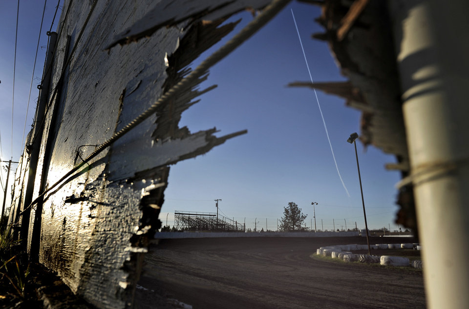 This Sunday, March 17, 2013, photo shows the racetrack where a sprint car accident killed two people on Saturday, March 16, at Marysville Raceway Park in Marysville, Calif. A teenage race car driver taking warmup laps careened off the track and into pit row, killing a 14-year-old boy and 68-year-old man, officials said. (AP Photo/Appeal-Democrat, Chris Kaufman)