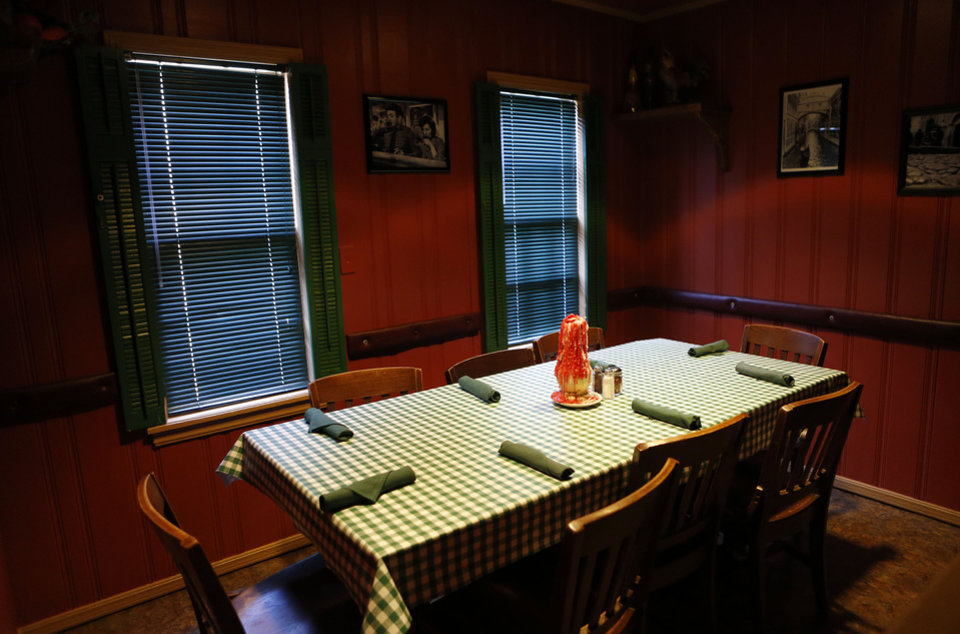 A table is pictured Gabriella's Italian Grill and Pizzeria in the old  County Line building on 1226 NE 63 in Oklahoma City, Friday, July 13, 2012. Photo by Sarah Phipps, The Oklahoman. ORG XMIT: OKOKL <strong>SARAH PHIPPS - SARAH PHIPPS</strong>