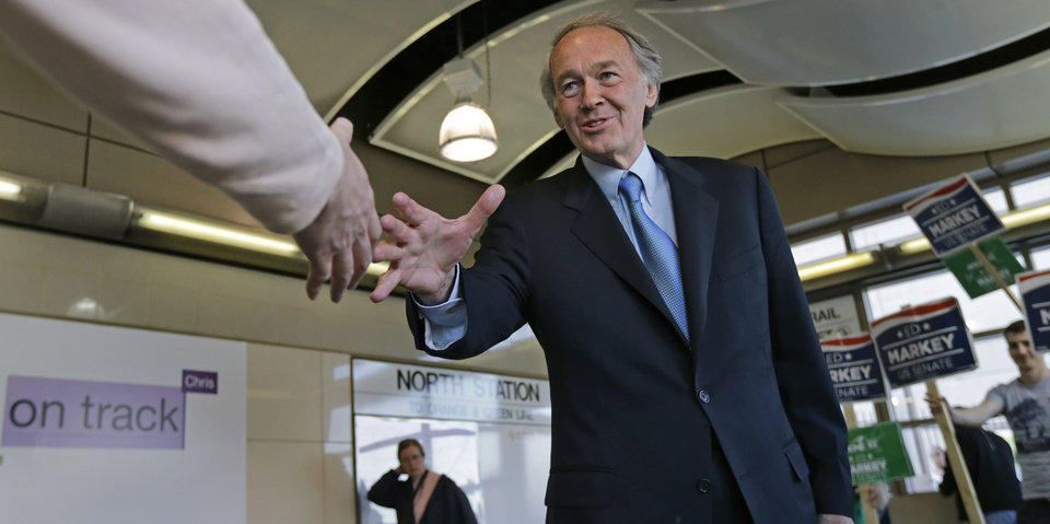 Photo - Democratic U.S. Senate hopeful, Mass. Rep. Edward Markey, D-Malden, shakes hands with a commuter while campaigning at North Station in Boston, Monday, April 29, 2013. Markey and U.S. Rep. Stephen Lynch, D-Boston, vying for their party's nomination in the special April 30, 2013 primary. (AP Photo/Charles Krupa)