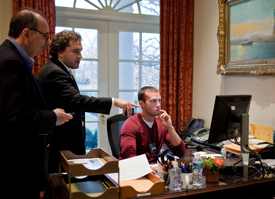 In this Jan. 8, 2011 photo provided by the White House, from left, senior advisor David Axelrod, speechwriter Cody Keenan, and chief White House speechwriter Jon Favreau, work on President Barack Obama\'s statement concerning the shooting of Rep. Gabrielle Giffords and others in Tucson, Ariz., at the White House in Washington. When Obama needed a new head speechwriter, he turned to Keenan, a 32-year-old fellow Chicagoan. Favreau, who left in March 2013 after five years as the president\'s lead wordsmith, brought Keenan into Obama\'s orbit in the first place, as an unpaid summer intern in 2007. (AP Photo/The White House, Pete Souza)