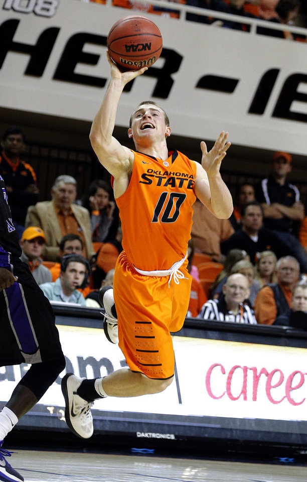 Oklahoma State's Phil Forte (10) shoots  during the men's college basketball game between Oklahoma State University and Central Arkansas at Gallagher-Iba Arena in Stillwater, Okla., Sunday,Dec. 16, 2012. Photo by Sarah Phipps, The Oklahoman