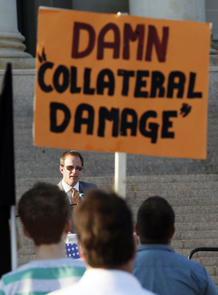 Rep. Cory Williams, D-Stillwater, speaks during a nonpartisan rally against the United States\' involvement in the Syrian civil war, on the south side of state Capitol in Oklahoma City, Friday, July 12, 2013. Photo by Nate Billings, The Oklahoman
