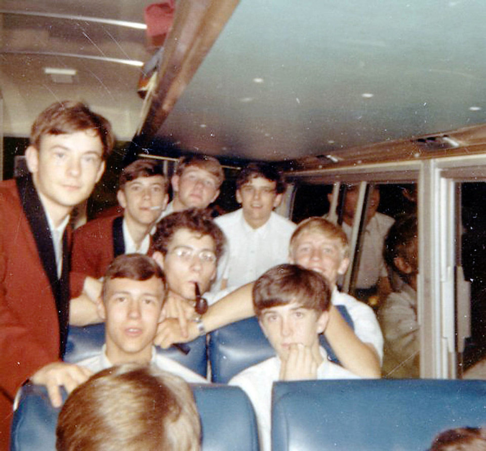 Photo - Mother Blues band in 1968 touring with the Edmond High School band. David Sisson, Sam Greenhaw, Keith Brewer and Phil Moss, top row from left; Robert Young and Greg Moss, middle row from left; Kent Yoesting and Dan Denman. PHOTO PROVIDED.