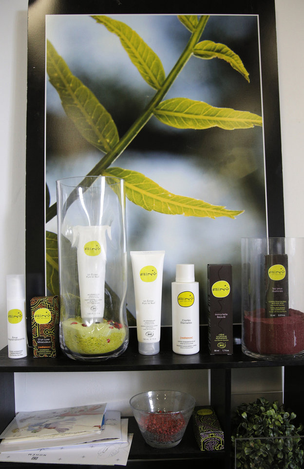 Photo -   Organic cosmetic produts are displayed in the office of Daniel Joutard, director and founder of Ainy in Paris, Thursday, Sept, 13, 2012. Joutard wants to hire more employees for his growing, innovative skin-care products company, but can't take the risk in large part because of France's inflexible workplace protections. The 37-year-old is among thousands of small- and medium-size business owners who will be crucial to help France _ like other countries in Europe _ reduce a double-digit jobless rate, and ultimately shrink its hefty state budget deficit by bringing in more tax revenues. (AP Photo/Francois Mori)