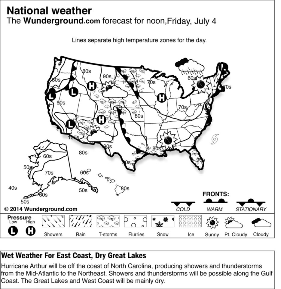 Photo - This is the Weather Underground U.S. national forecast for Friday, July 4, 2014, Hurricane Arthur will be off the coast of North Carolina, producing showers and thunderstorms from the Mid-Atlantic to the Northeast. Showers and thunderstorms will be possible along the Gulf Coast. The Great Lakes and West Coast will be mainly dry. (AP Photo/Weather Underground)