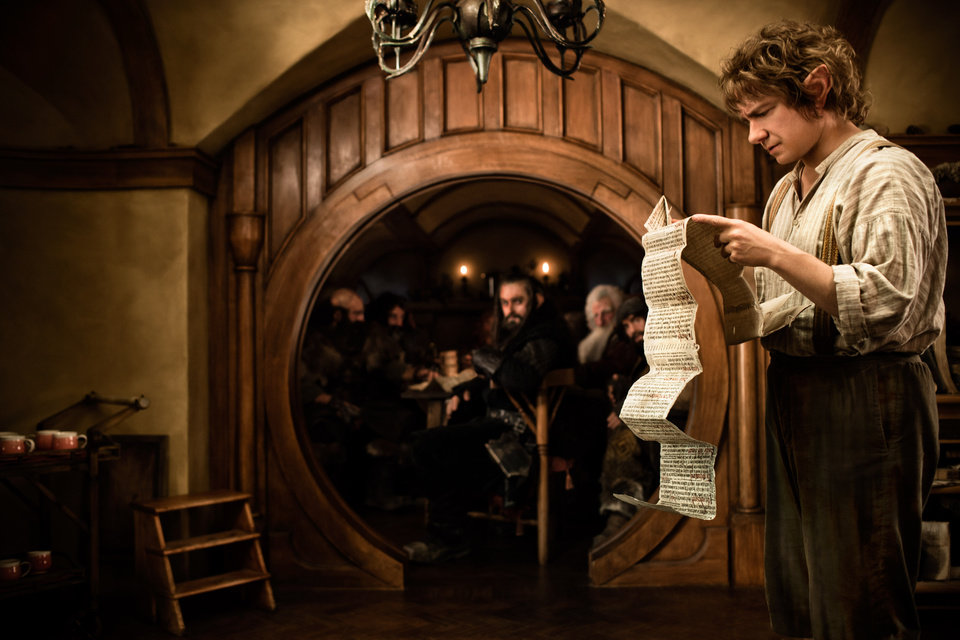 Photo - FILE - This publicity film image released by Warner Bros., shows Martin Freeman as Bilbo Baggins in a scene from the fantasy adventure