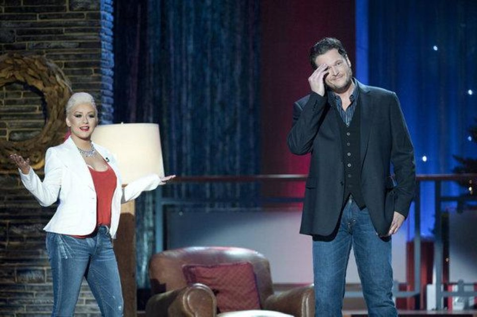 "Blake Shelton's  ""The Voice"" co-star Christina Aguilera joins him for his Christmas special.  Photo by Lewis Jacobs/NBC"