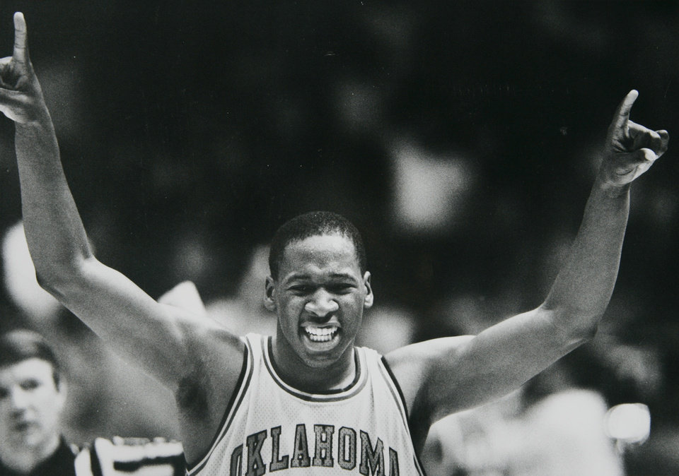 Former OU basketball player Wayman Tisdale. Oklahoma center Wayman Tisdale celebrates OU's victory over Nevada-Las Vegas Saturday. Staff photo by Doug Hoke. Photo taken 3/3/1984, Photo published 3/5/1984, 7/22/1984, 2/17/1991 in The Daily Oklahoman. ORG XMIT: KOD