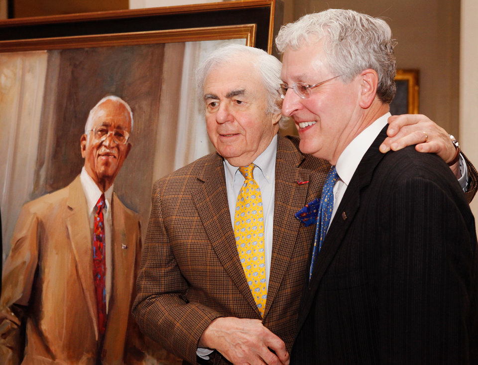 New York artist Everett Raymond Kinstler, left, and OCU President Robert Henry after Kinstler   unveiled his portrait of Dr. John Hope Franklin (in background) in a ceremony at the state capitol on  Wednesday, Feb 22,  2012. Born in Rentiesville and a graduate of Booker T. Washington High School in Tulsa, Franklin went on to become a nationally recognized historian, author  and civil rights advocate. He was a lifelong educator.  Franklin died in 2009. Photo by Jim Beckel, The Oklahoman