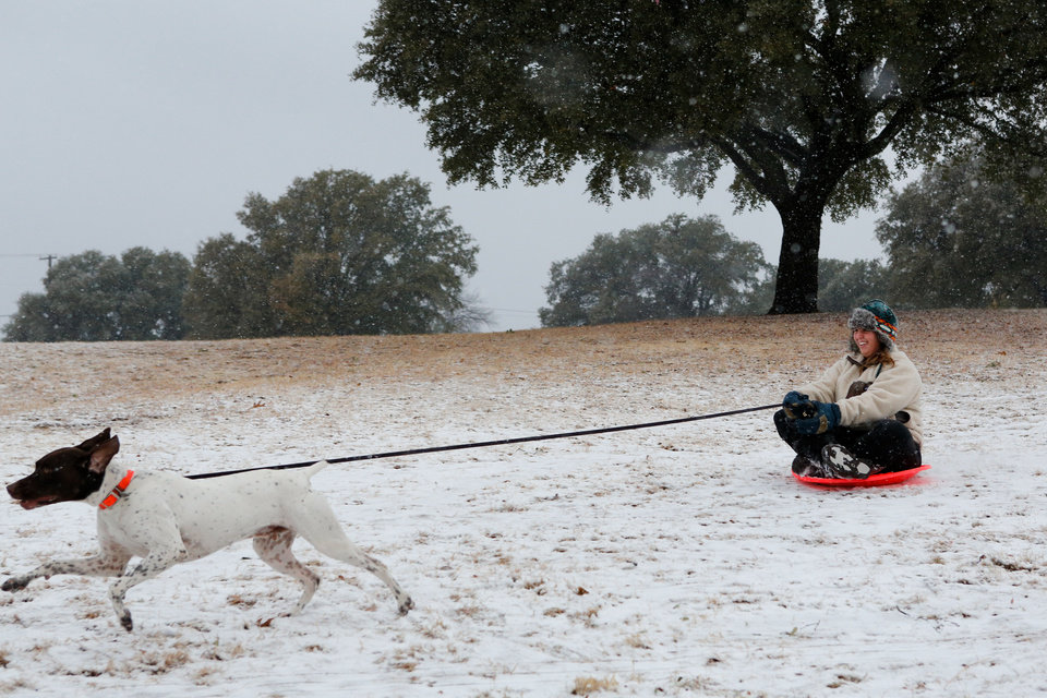 Lauren LaSalle is pulled down a hill on a sled by her dog Hank at Flag Pole Hill Park in Dallas, on Tuesday, Dec. 25, 2012. (AP Photo/The Dallas Morning News, Stan Olszewski)  MANDATORY CREDIT; MAGS OUT; TV OUT; INTERNET OUT; AP MEMBERS ONLY