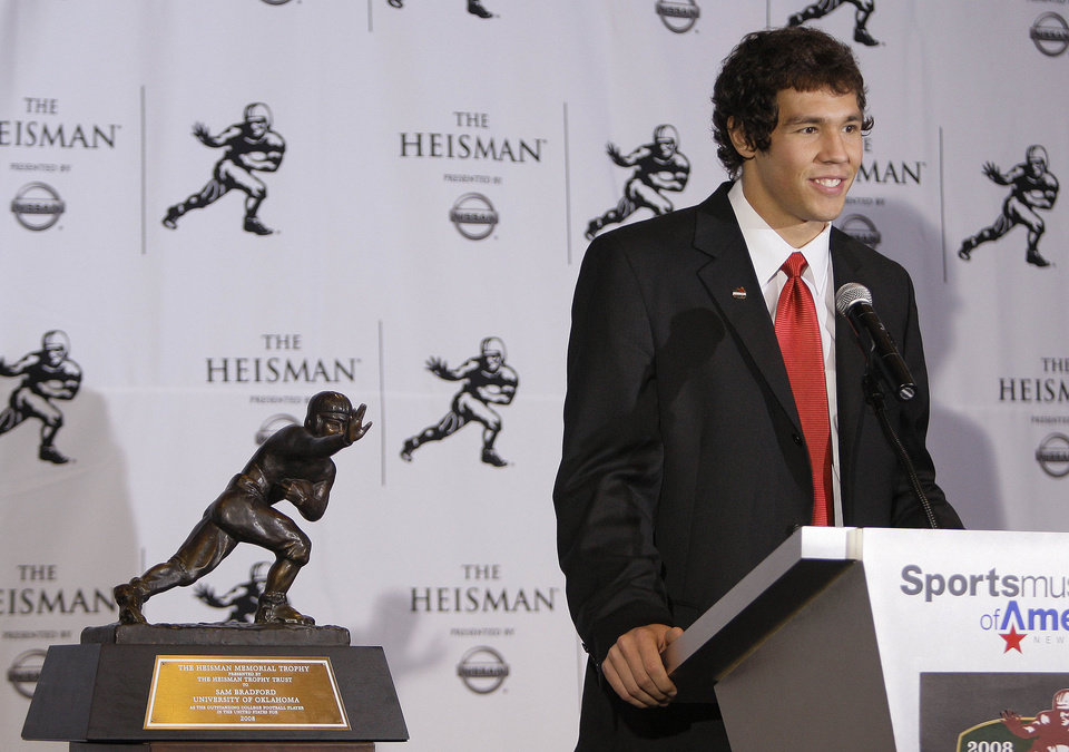 Photo - QUARTERBACK / OU / COLLEGE FOOTBALL / HEISMAN TROPHY WINNER / WIN: University of Oklahoma football player Sam Bradford answers questions for the media after being awarded the Heisman Trophy Saturday, Dec. 13, 2008 in New York.  (AP Photo/Julie Jacobson) ORG XMIT: NYJJ109