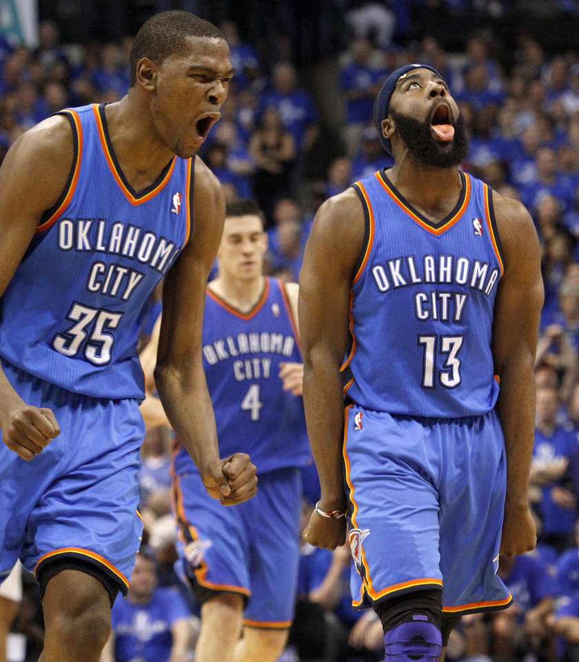 Oklahoma City's Kevin Durant (35) and James Harden (13) react during game 2 of the Western Conference Finals in the NBA basketball playoffs between the Dallas Mavericks and the Oklahoma City Thunder at American Airlines Center in Dallas, Thursday, May 19, 2011. Photo by Bryan Terry, The Oklahoman