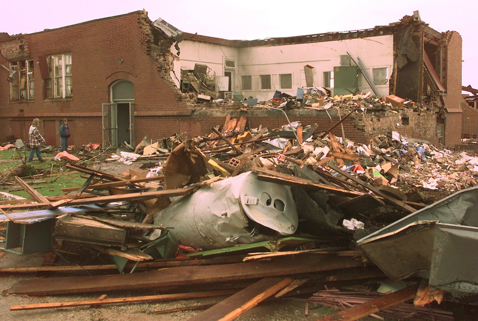 MAY 3, 1999 TORNADO: Tornado damage. Mulhall school.