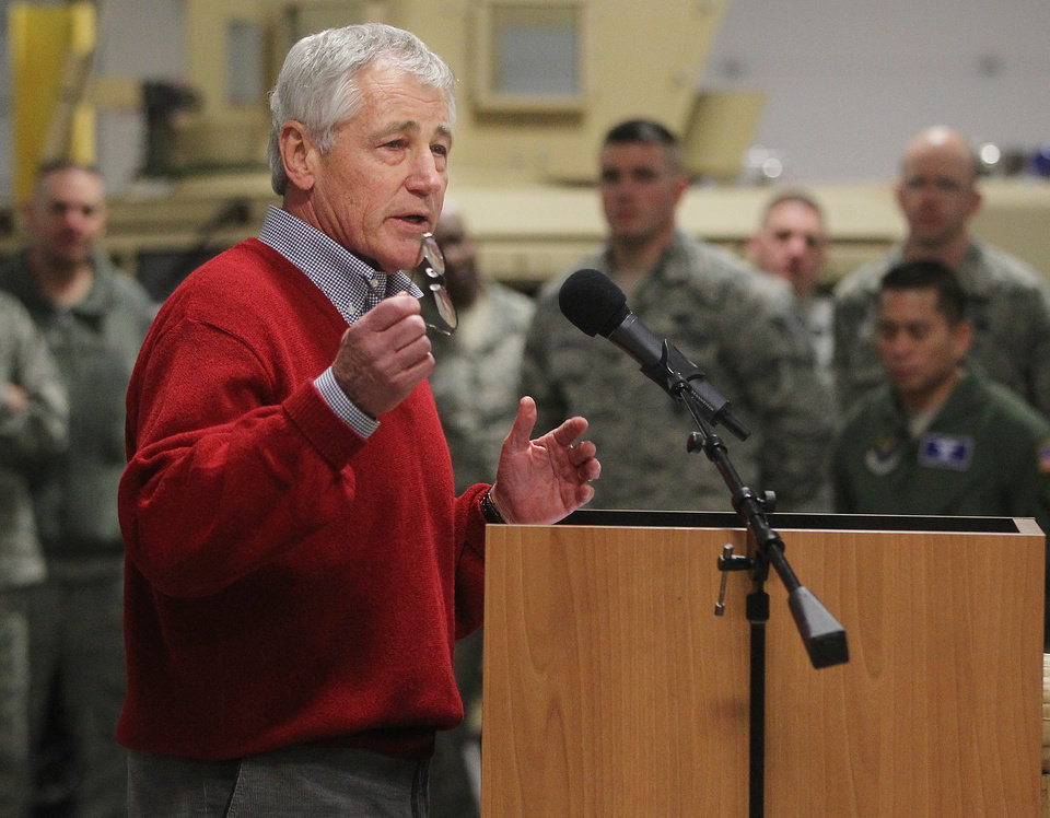 Photo - Defense Secretary Chuck Hagel speaks with airmen of the 20th Air Force 90th Missile Wing during a trip to F.E. Warren Air Force Base on Thursday, Jan. 9, 2014 in Cheyenne, Wyo. It was the first time since 1982 that a defense secretary has visited the nuclear missile base. (AP Photo/Wyoming Tribune Eagle, Blaine McCartney)
