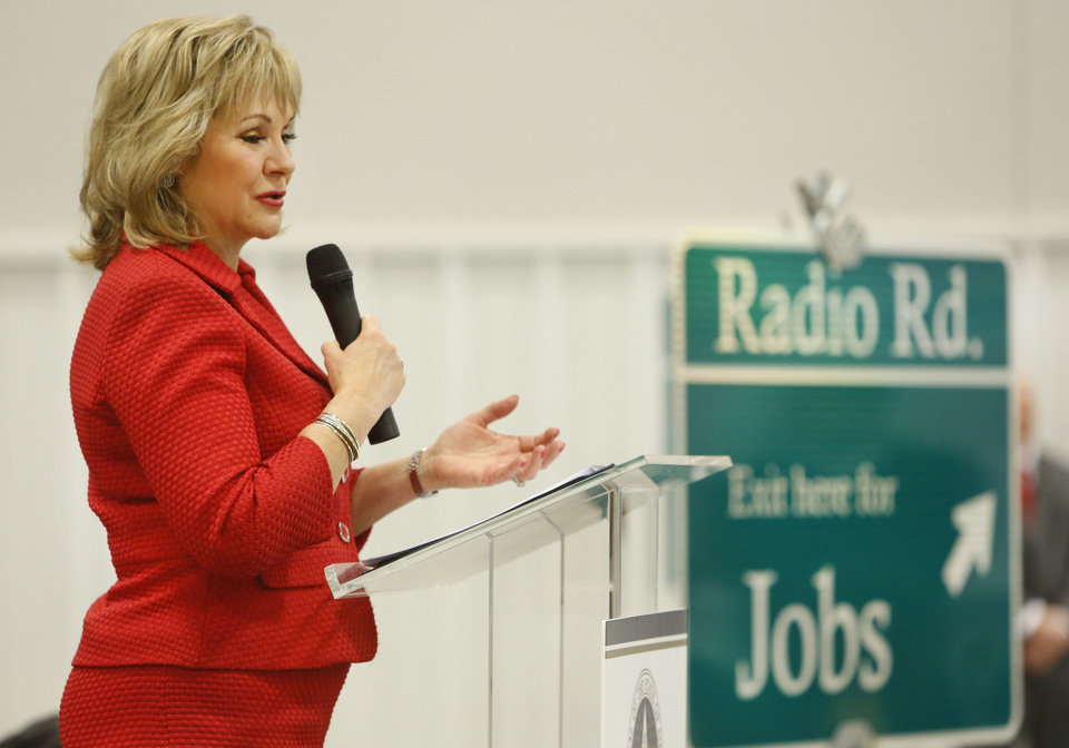 Governor Mary Fallin speaks during the ground-breaking ceremony for the new Radio Road and I-40 interchange in El Reno, Friday December 07, 2012. The ceremony was held at Performance Technologies L.L.C., an affiliate of Chesapeake Energy Corporation. Photo By Steve Gooch, The Oklahoman