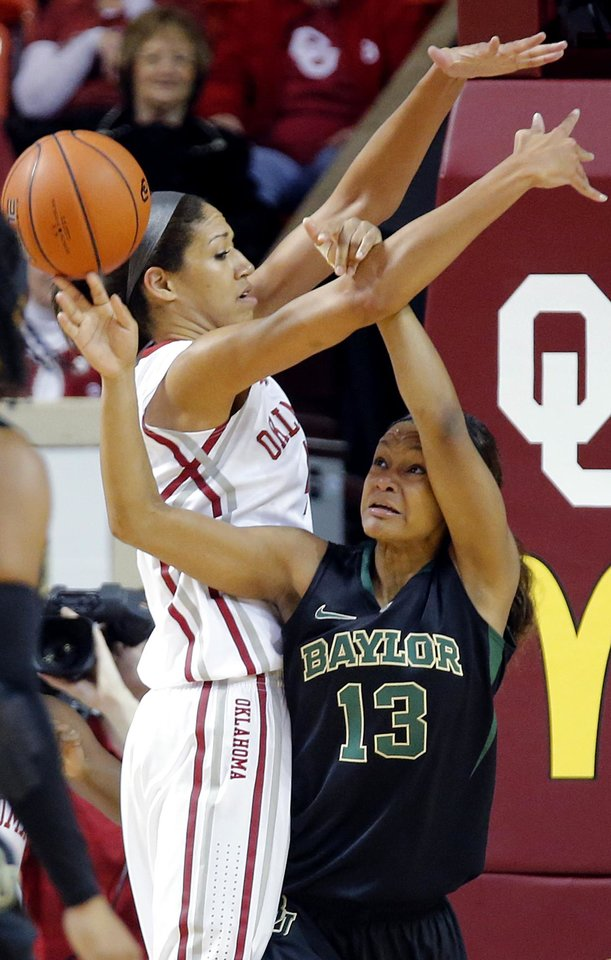 Oklahoma's Nicole Griffin (4) defends on Baylor's Nina Davis (13) during the women's college basketball game between the University of Oklahoma Sooners (OU) and the Baylor University Bears (BU) at the Lloyd Noble Center in Norman, Okla. on Monday, Feb. 3, 2014. Photo by Chris Landsberger, The Oklahoman