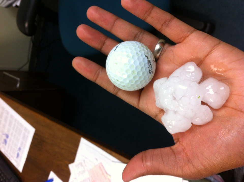 Golf ball-sized hail an I-40 and Council. Photo by Leigh Jacobs
