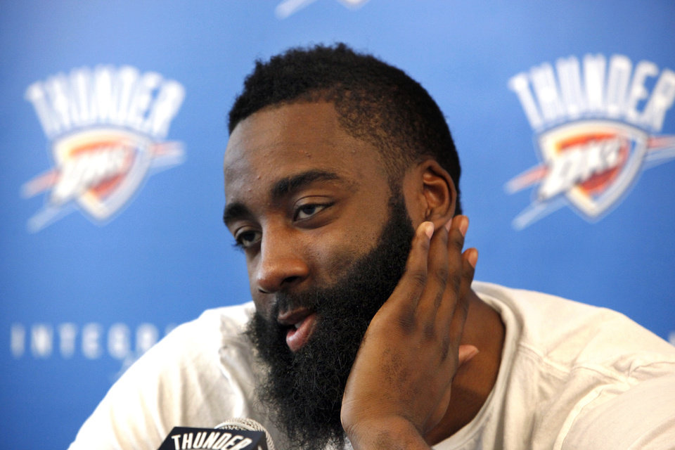 OKLAHOMA CITY THUNDER NBA BASKETBALL / MUG: Oklahoma City\'s James Harden (13) speaks during a press conference at the Integris Health Thunder Development Center in Oklahoma City, Saturday, June 23, 2012. Photo by Sarah Phipps, The Oklahoman