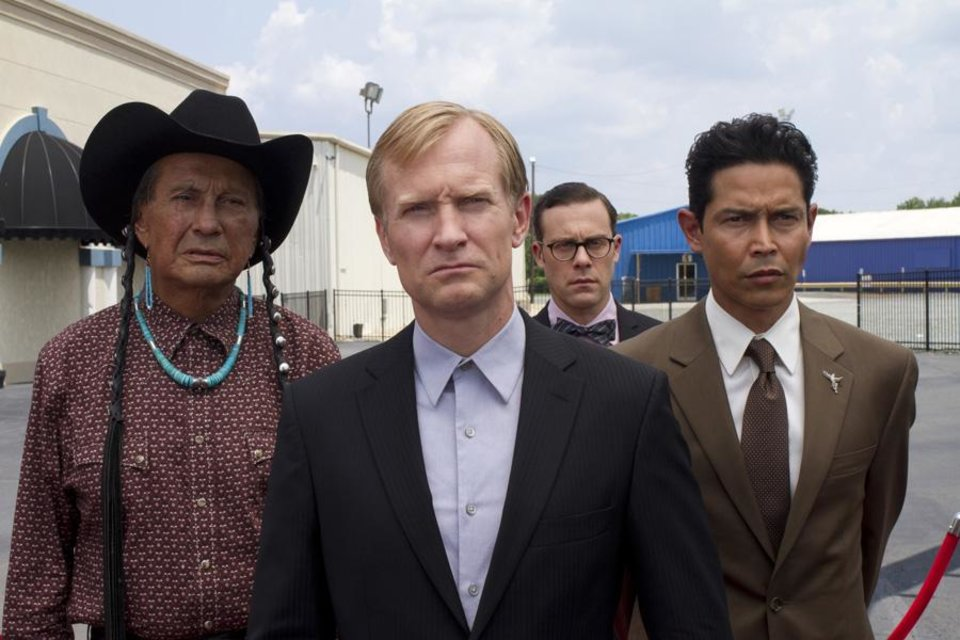 From left to right � Russell Means, Ulrich Thomsen, Matthew Rauch, Anthony Ruivivar - Photo ourtesy of Fred Norris/Cinemax.