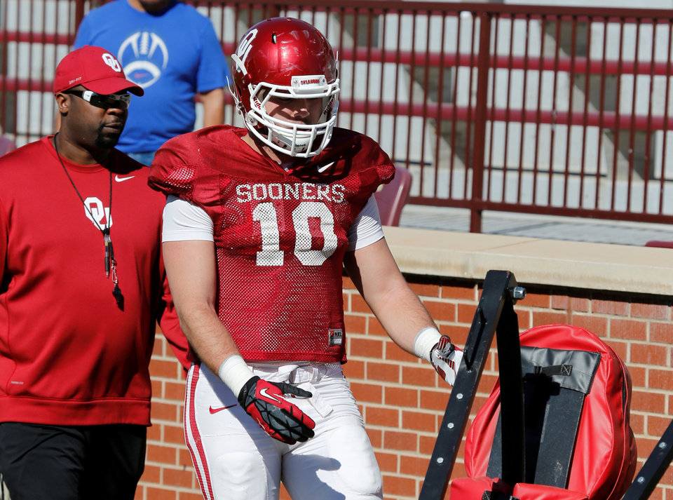 Photo -  Will someone step up at the tight end position in Blake Bell's absence? Photo by Steve Sisney, The Oklahoman