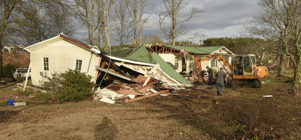 Photo - Tornadoes ravaged homes and property between the Helicon Communities and Arley on County Rd. 77 in Winston County, Ala. Wednesday, Nov. 30, 2016.  (Joe Songer /AL.com via AP)